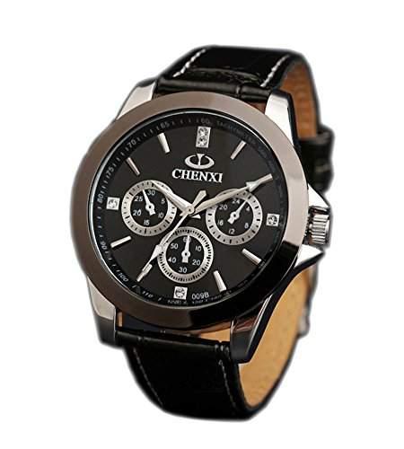 ufengke® maenner armband aus schwarzem wasserdicht armbanduhren,dekorativ drei augen sechs zeiger leucht handgelenk armbanduhren fuer herren-schwarz, dekorative kleine Zifferblaetter