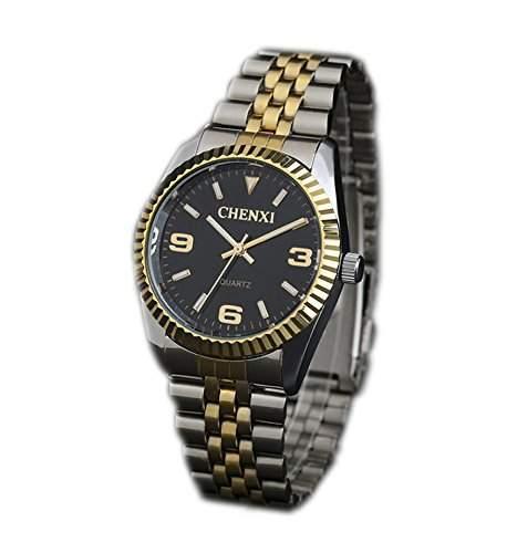 ufengke® luxus herren gold-silber-stahlband handgelenk armbanduhren,leucht armbanduhren fuer herren-schwarz