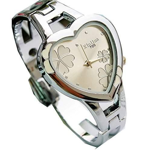 ufengke® maedchen herzfoermigen zifferblatt blumen armbanduhren schoenen stahlband armband geschenk armbanduhren-pink