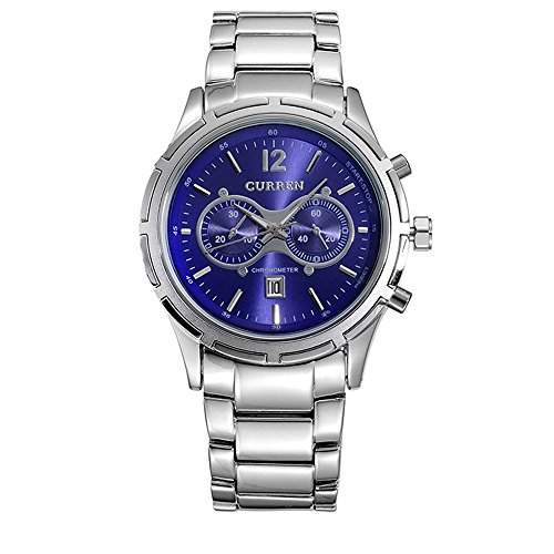 ufengke® modetrends empfindliche kalender wasserdicht quarz armbanduhren fuer maennerjungen-blau, dekorative kleine Zifferblaetter