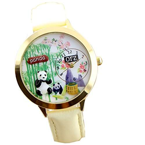 ufengke® niedlichen cartoon polymerclay pandas bambus weisses band armbanduhren maedchen gold pflaumenblueten zu sehen