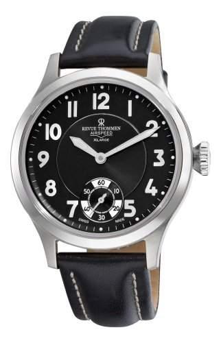 Revue Thommen Mens 160613537 Air speed Mens Black Face Mechanical Watch Watch