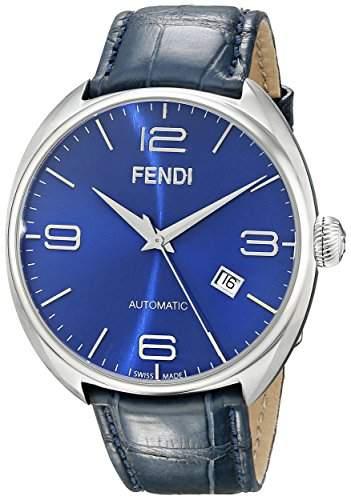 Fendi Fendimatic Herren 42mm Automatikwerk Blau Leder Armband Uhr F200013031