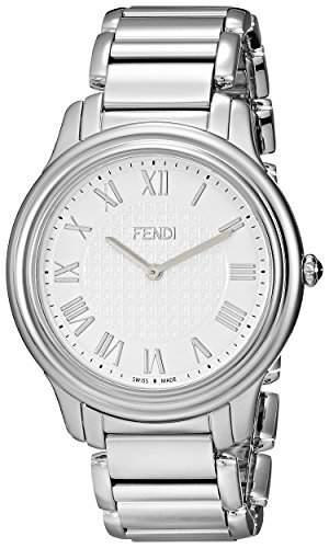Fendi Classico Herren 40mm Silber Edelstahl Armband & Gehaeuse Uhr F251014000