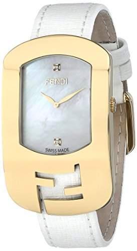 Fendi Chameleon Damen 29mm Weiss Leder Armband Edelstahl Gehaeuse Uhr F300434541D1