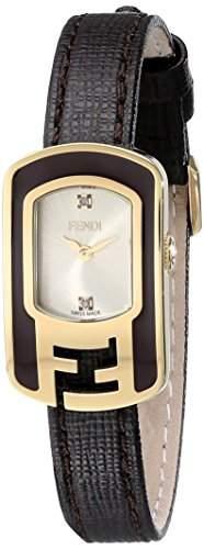 Fendi Chameleon Damen 18mm Braun Leder Armband Saphirglas Uhr F312425021D1