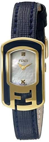 Fendi Chameleon Damen Diamanten Blau Leder Armband Saphirglas Uhr F313424531D1