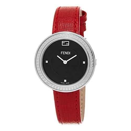 Fendi My Way Damen 36mm Rot Leder Armband Edelstahl Gehaeuse Uhr F354031073