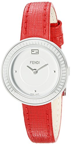 Fendi My Way Damen 28mm Rot Leder Armband Edelstahl Gehaeuse Uhr F354024073