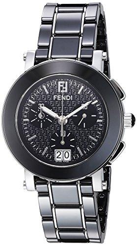 Fendi 38mm Armband Keramik Schwarz Gehaeuse Edelstahl Schweizer Quarz Chronograph F661110