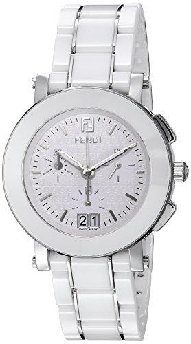 Fendi 38mm Armband Keramik Weiss Gehaeuse Edelstahl Schweizer Quarz Chronograph F662140