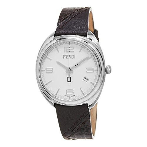 Fendi Momento Damen Armbanduhr 34mm Armband Leder Braun Gehaeuse Edelstahl Schweizer Quarz F210034021