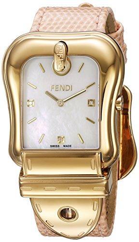 Fendi Armband Leder Pfirsich Gehaeuse Edelstahl Schweizer Quarz Analog F382414571D1