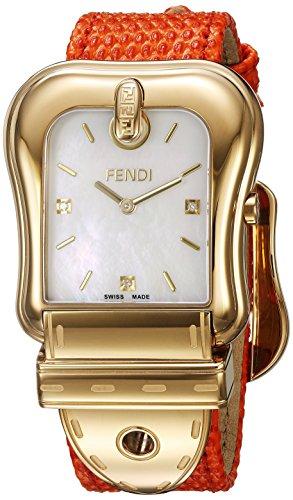 Fendi Armband Leder Marine Gehaeuse Edelstahl Schweizer Quarz Analog F382414591D1