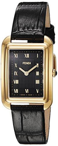 Fendi Armband Leder Schwarz Gehaeuse Goldfarbenes Edelstahl Schweizer Quarz F700431011