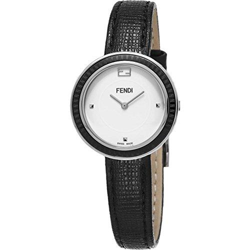 Fendi Damen Armbanduhr 28mm Armband Kalbsleder Schwarz Gehaeuse Edelstahl Schweizer Quarz F352024011