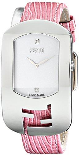 Fendi Damen f300034071d1 Chameleon diamond accented Edelstahl Armbanduhr mit rosa Leder Band