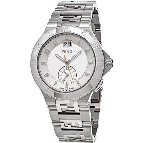 Fendi 43mm Armband Edelstahl Gehaeuse Schweizer Quarz Zifferblatt Silber F477160B