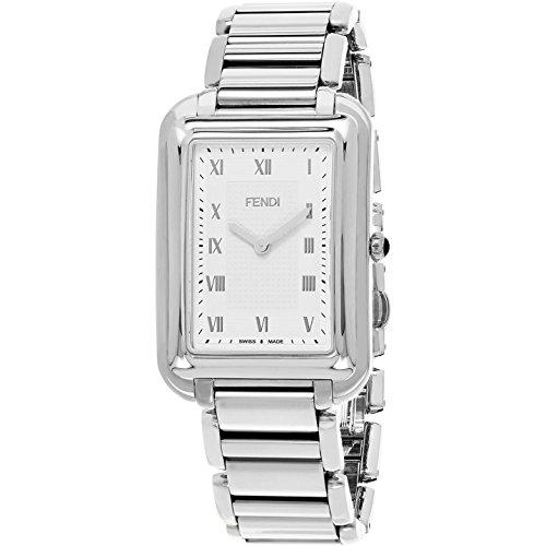 Fendi Herren Armbanduhr Armband Edelstahl Gehaeuse Schweizer Quarz Zifferblatt Silber Analog F701016000