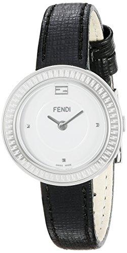 Fendi My Way Damen 28mm Schwarz Leder Armband Edelstahl Gehaeuse Uhr F354024011