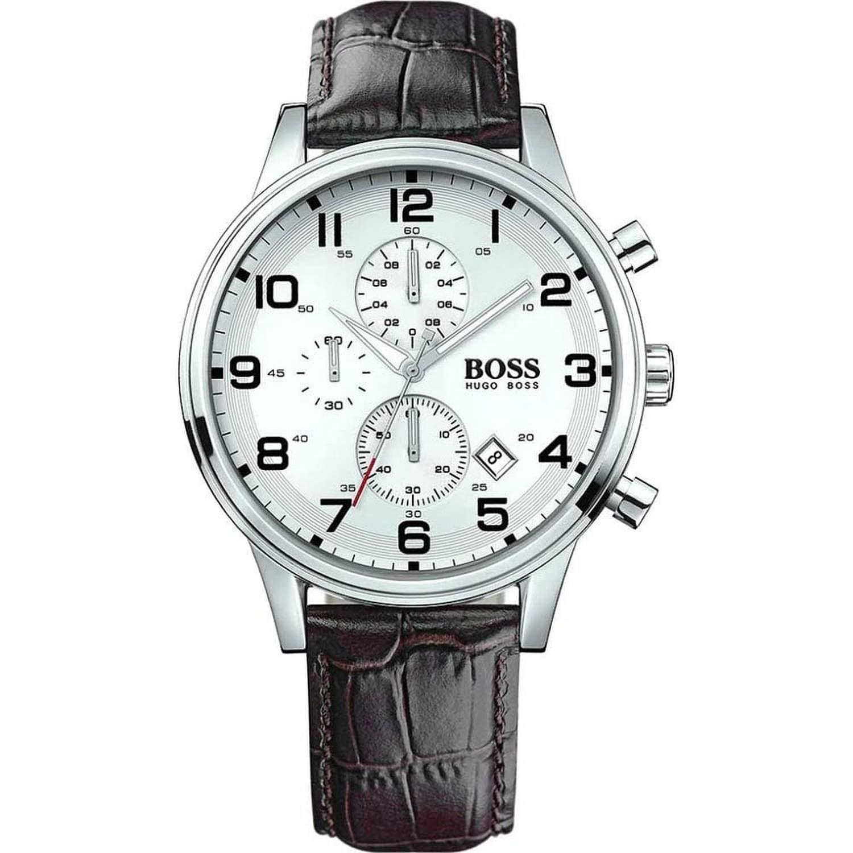 Hugo Boss Herren-Armbanduhr Chronograph Quarz Leder 1512447
