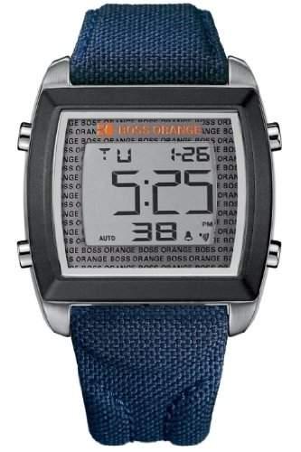 Boss Orange Herren Uhr 1512607 GENT LEDER BLAU DATUM UVP 175,-