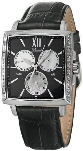 Bossart Watch Co Square-Glam BW-1101-W-AS-Sle Armbanduhr fuer Sie Mit Kristallsteinen
