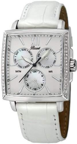 Bossart Watch Co Square-Glam P-1001-IPB Armbanduhr fuer Sie Mit Kristallsteinen