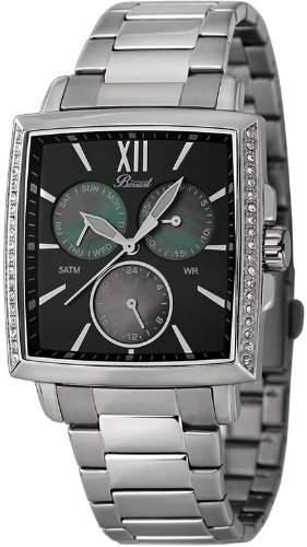 Bossart Watch Co Square-Glam BW-1101-W-BRC Armbanduhr fuer Sie Mit Kristallsteinen