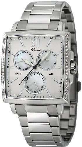 Bossart Watch Co Square-Glam BW-1101-MOP-BRC Armbanduhr fuer Sie Mit Kristallsteinen