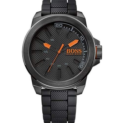 BOSS Orange Herren-Armbanduhr XL New York Analog Quarz Silikon 1513004