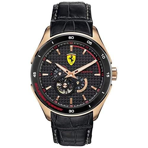Ferrari Herren-Armbanduhr Analog Automatik Leder 830108