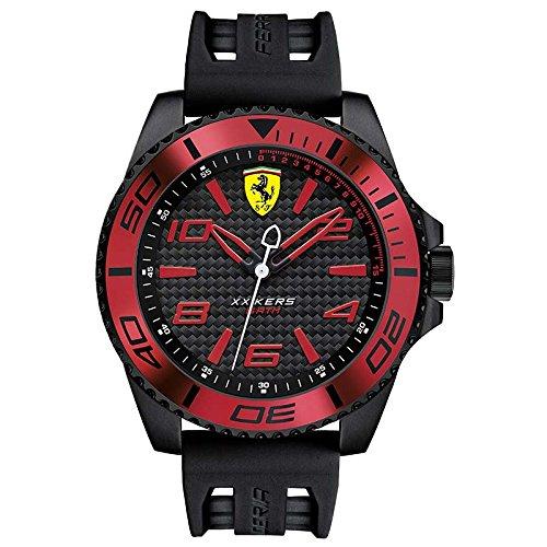 Ferrari Armband Kautschuk Schwarz Gehaeuse Edelstahl Quarz Analog 0830306