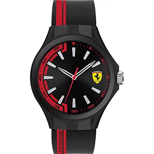 Ferrari Herren Armbanduhr 45mm Armband Kautschuk Schwarz Gehaeuse Plastik Batterie Analog 0830367