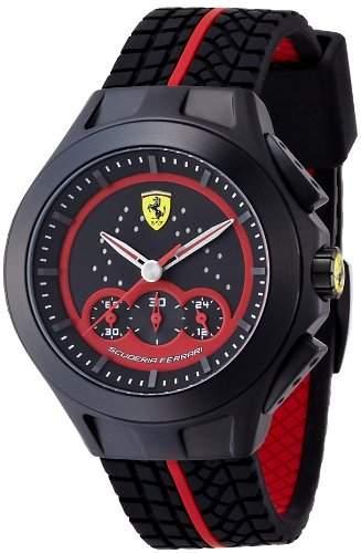 Ferrari 0830028 Race Day Chronograph Uhr Herrenuhr Kautschuk Edelstahl 50m Analog Chrono Datum schwarz