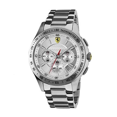 Ferrari 0830047 Chronograph Uhr Herrenuhr Edelstahl 50m Analog Chrono Datum silber