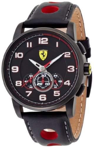 Ferrari 0830059 Heritage Chronograph Uhr Herrenuhr Lederarmband Edelstahl 50m Analog Chrono schwarz
