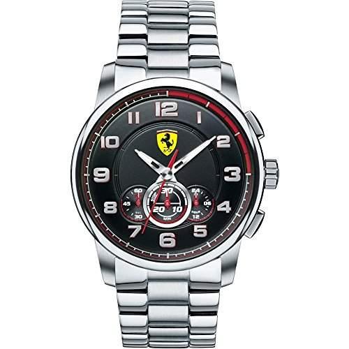 Ferrari 0830065 Heritage Chronograph Uhr Herrenuhr Edelstahl 50m Analog Chrono schwarz