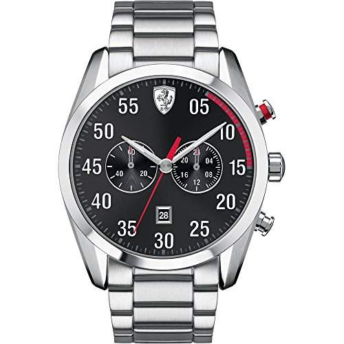 Scuderia Ferrari Watches Mens D50 All Steel Chronograph Watch With Black Dial