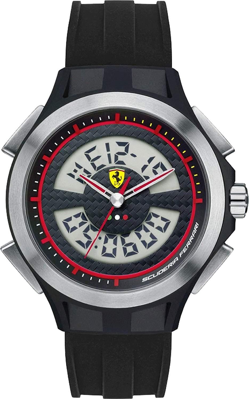 Ferrari 0830018 Lap Time Uhr Herrenuhr Kautschuk Kunststoff 50m Digital Datum Licht Alarm schwarz