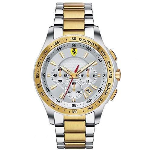 Scuderia Ferrari 0830051 Chronograph Uhr Herrenuhr Edelstahl bicolor 50m Analog Chrono Datum silber gold UVP 445,-