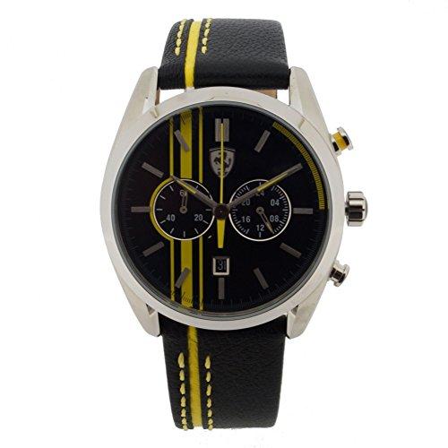 Scuderia Ferrari 0830235 D50 Chronograph Uhr Herrenuhr Lederarmband Edelstahl 5 bar Analog Chrono Datum schwarz