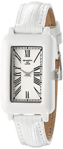 Kenneth Jay Lane Moderne Damen-Armbanduhr 38mm Armband Leder Weiss Gehaeuse Harz Quarz Analog 0910S-BSET