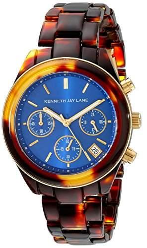 Kenneth Jay Lane 4000 Series Damen-Armbanduhr 38mm Chronograph Armband Harz Braun + Gehaeuse Quarz 4003