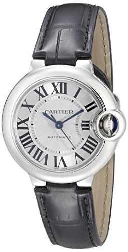 Cartier Ballon Bleu De Cartier Damen 33 mm Armband Leder schwarz automatische Zifferblatt Silber zeigt w6920085