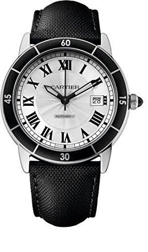 Cartier Ronde Croisiere Herren Armbanduhr 40mm Armband Leder Schwarz Gehaeuse Edelstahl Automatik WSRN0002