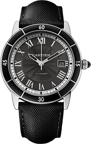 Cartier Ronde Croisiere 40mm Armband Leder Schwarz Gehaeuse Edelstahl Automatik WSRN0003