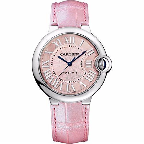 Cartier Damen Armbanduhr 36mm Armband Leder Pfirsich Gehaeuse Edelstahl Automatik Analog WSBB0007