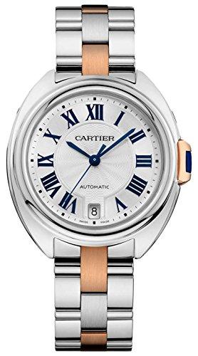 Cartier Damen Armbanduhr Armband Edelstahl Rosarot Gehaeuse Automatik Zifferblatt Silber Analog W2CL0004