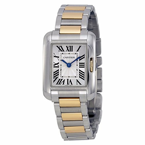 Cartier Tank Anglaise Damen Armbanduhr Armband Zweifaerbiger Edelstahl Zwei Ton Automatik Analog W5310046